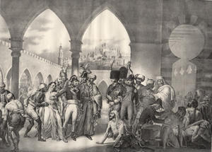 Napoleon with the sick at Jaffa or in Egypt, lithograph by Champion after Gros. c. 1840? Napoleon Bonaparte.