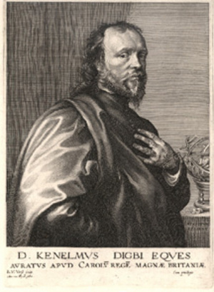 Engraving by R.V. Vorst after painting by Anthony VAN DYCK. 27x20.5cm. Kenelm Digby.