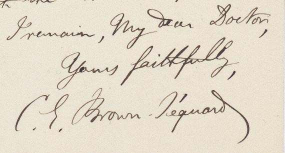 """ALs to Horatio Storer. Sept. 13"""", 1876. 2pp., 8vo. From London. Charles Eduard Brown-Sequard."""