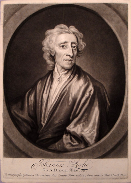 Large cameo mezzotint portrait engraved by J. Smith after painting by Geoffrey Kneller (1704). John Locke.