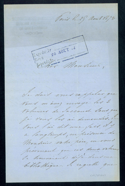 2 Autograph letters signed to his publisher Bailliere, with 2 articles on his scientific work. Guillaume B. A. Duchenne de Boulogne.