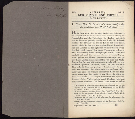 21 Offprints on physics, acoustics, microscopy, etc., from the Carl Ludwig collection. Hermann von Helmholtz.