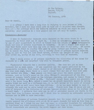 Typed letter signed to Dr. Ancell discussing the nature of scientific research. William Lawrence Bragg.