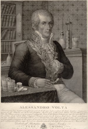 Alessandro Volta. Engraved portrait By Rados after Focosi. Alessandro Volta.