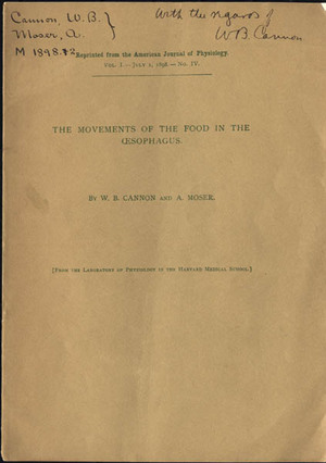 The movements of the food in the oesophagus. Presentation copy. Walter B. Cannon.
