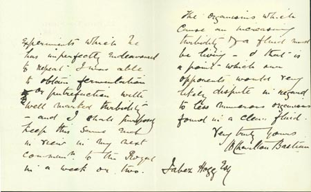 Autograph letter signed to [Jabez] Hogg, discussing microbiology. Henry Bastian.
