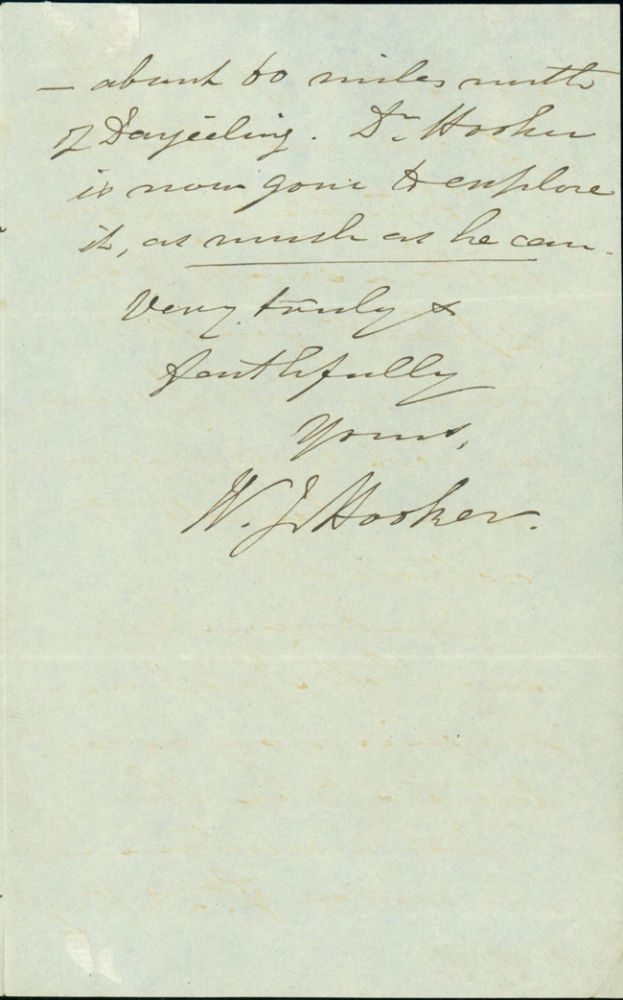 Autograph letter signed to an unidentified correspondent. William Jackson Hooker.