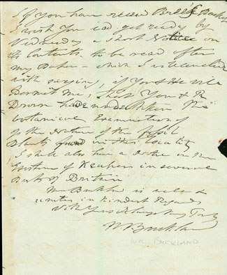 Autograph letter signed to Charles Stokes. William Buckland.