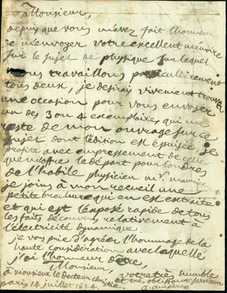 Autograph letter signed to Samuel H. Christie. Andre Marie Ampere.