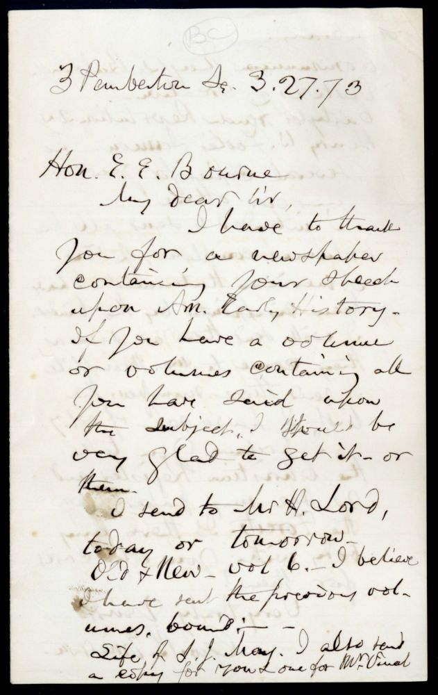 Autograph letter signed to Edward Emerson Bourne. George Barrell Emerson.