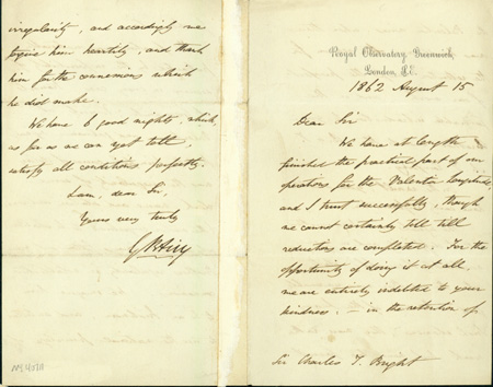 Autograph letter signed to Charles Tilston Bright. George Biddell Airy.