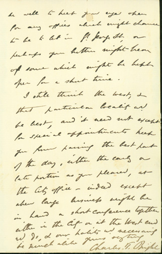 Autograph letter signed to Latimer Clark. Charles Tilston Bright.