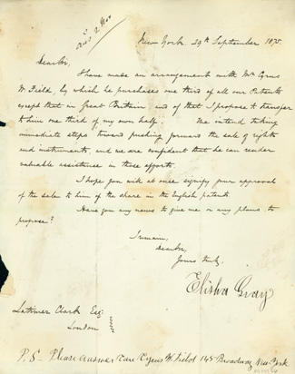 Letter signed, with autograph postscript, to Latimer Clark. Elisha Gray.