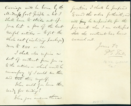 Autograph letter signed to Latimer Clark. Peter Guthrie Tait.