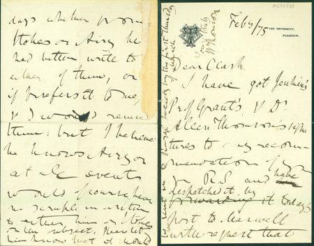 Autograph letter signed to Latimer Clark. William Thomson, first Baron Kelvin.