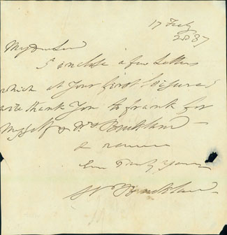 Autograph note signed to Viscount Cole, February 17, 1837. William Buckland.