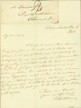 Autograph letter signed to Michael Faraday. William Henry.