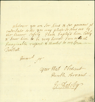"Autograph letter signed to ""my cozen Tunstall,"" most likely Bishop Cuthbert Tunstall. John Rokeby."