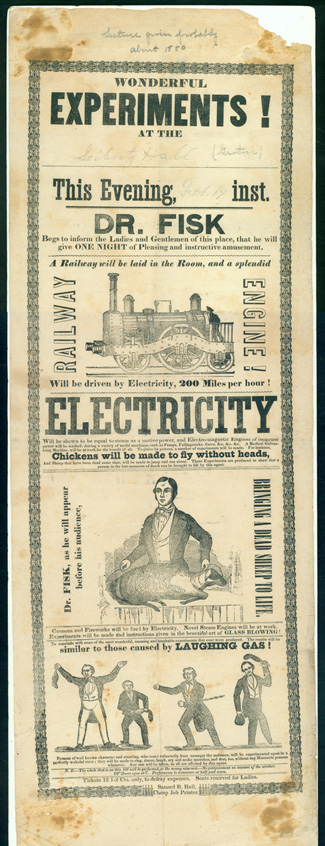 Wonderful experiments! . . . Electricity . . . [Broadside]. Electricity.