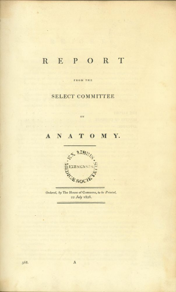 Report of the select committee on anatomy. Anatomy.