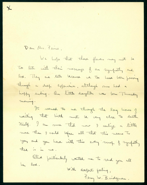 2 autograph letters signed to Mrs. Benjamin Osgood Peirce. Percy W. Bridgman.