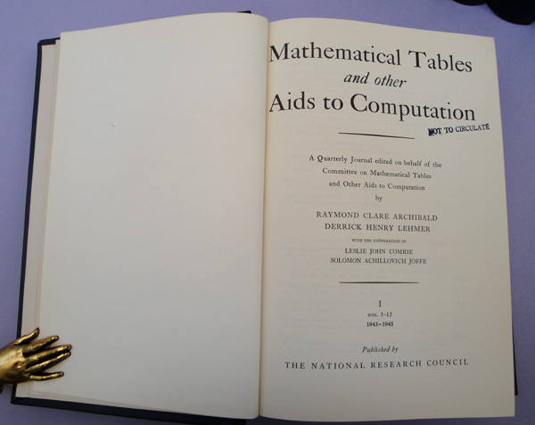 Mathematical tables and other aids to computation. Vols. 1-14. MTAC.
