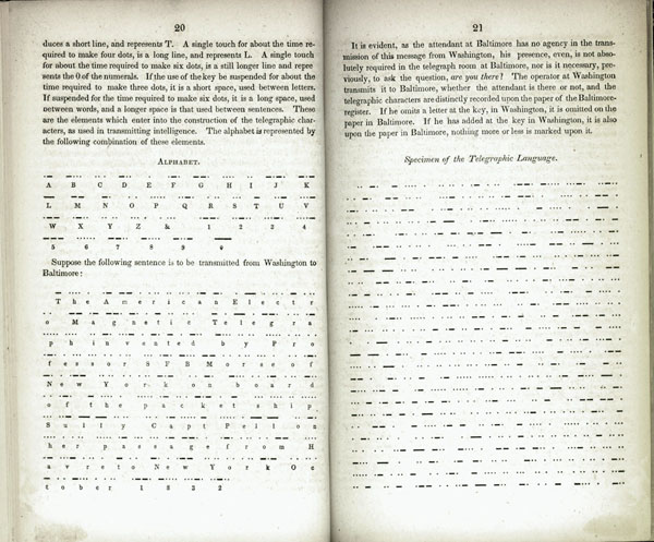 Description of the American Electro Magnetic Telegraph: now in operation between the Cities of Washington and Baltimre. Bound with: Johnson, A Brief and Simple Explanation of the Electro-magnetic Telegraph (1847) and Hubbard, The Proposed Changes in the Telegraphic System (1873). Alfred Vail.