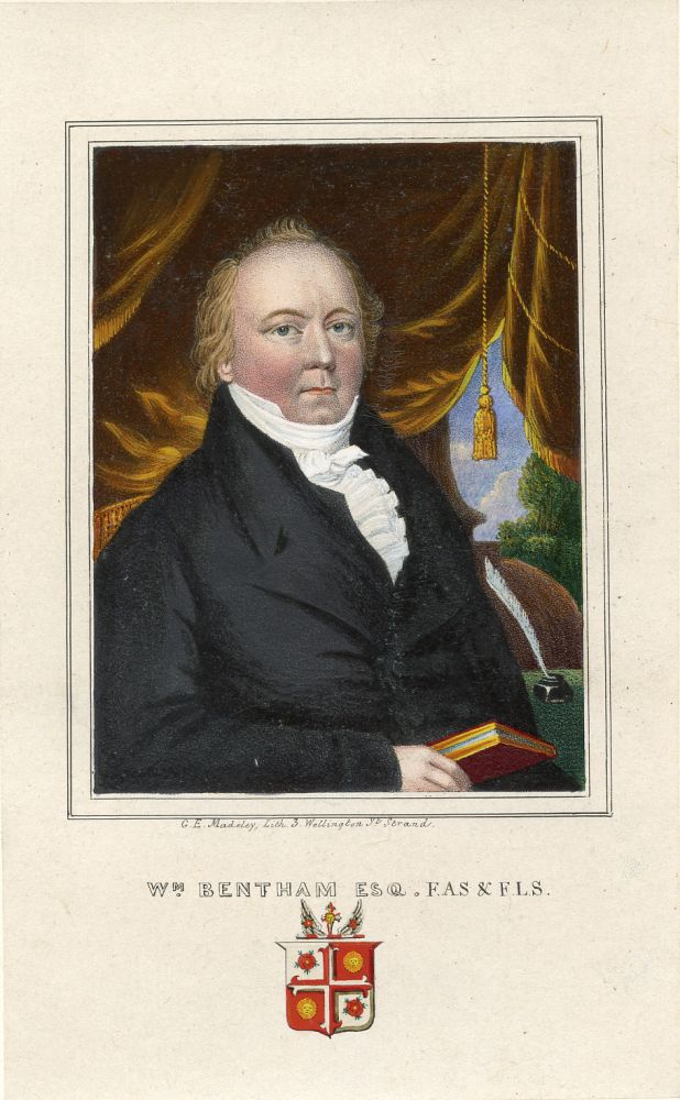 Hand-Colored Lithograph Portrait by G. E. Madely. William Bentham.