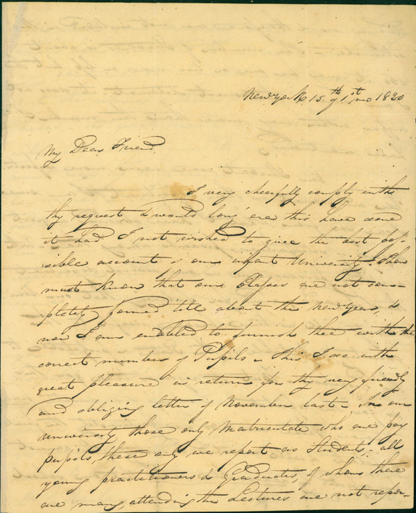 Autograph letter signed to R. Harlan. Valentine Mott.