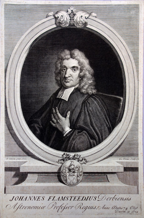 Portrait engraved by George Vertue, 1721, after the painting by T. Gibson, 1712. Fine example. 333 x 230 mm. John Flamsteed.