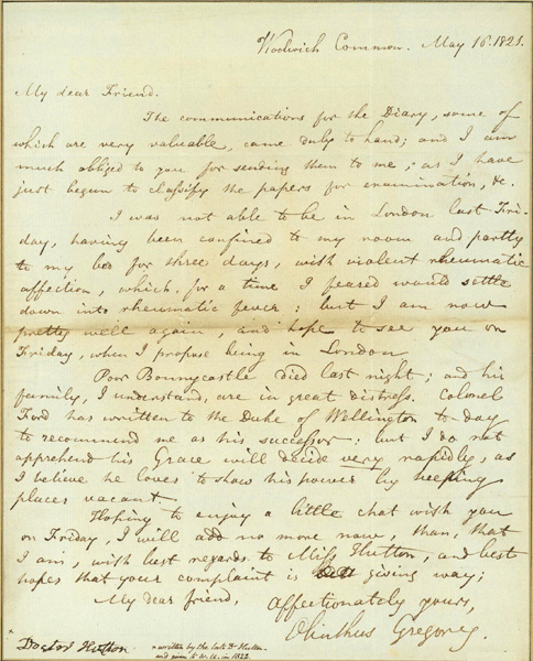 Autograph letter signed to Charles Hutton. Olinthus Gilbert Gregory.
