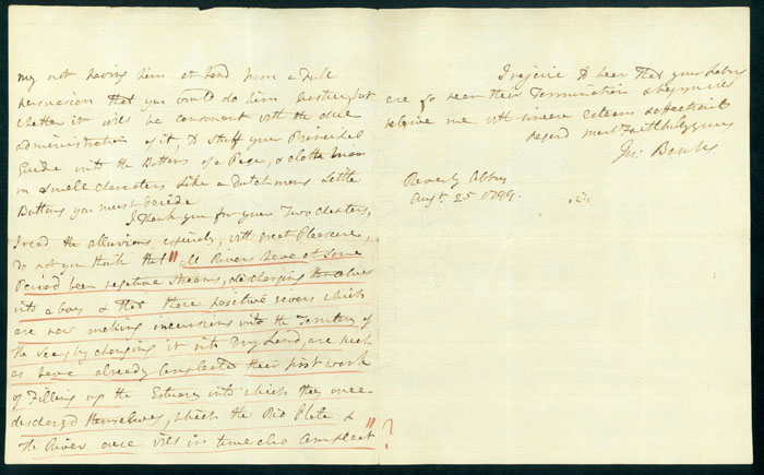 Autograph letter signed to Maj. James Rennell. Joseph Banks.