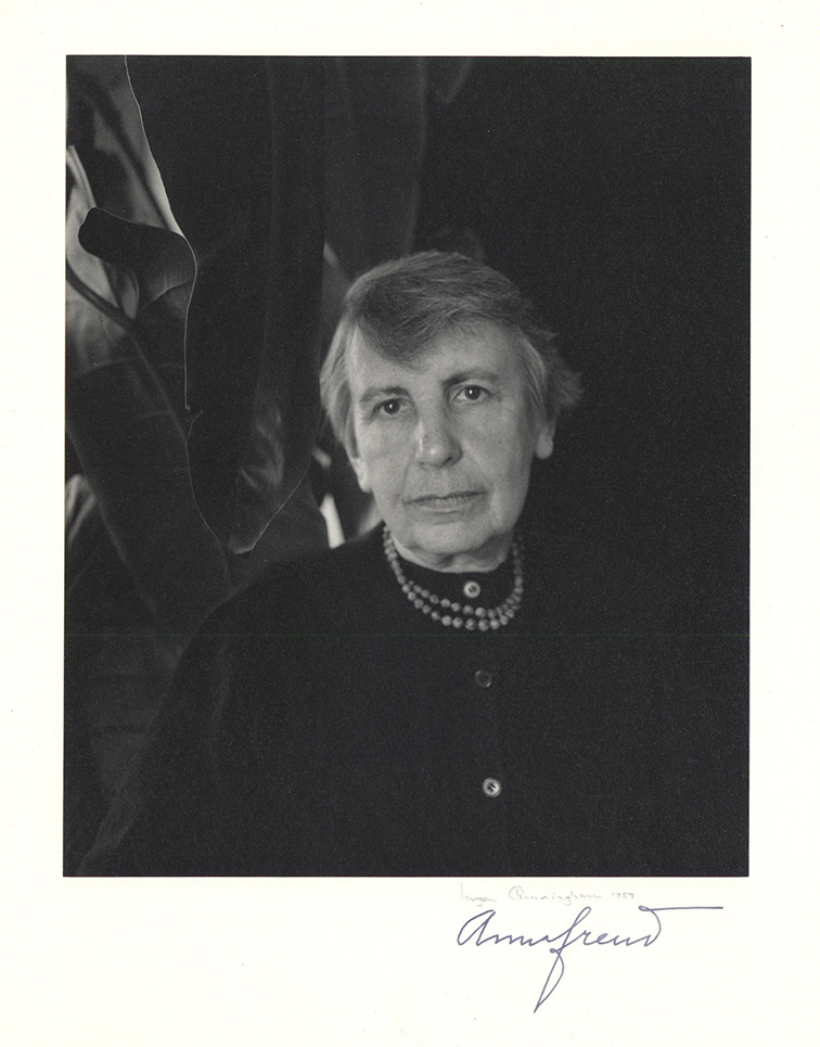 Fine portrait photograph by Imogen Cunningham, signed by the photographer and by Anna Freud. Anna Freud, Imogen Cunningham.