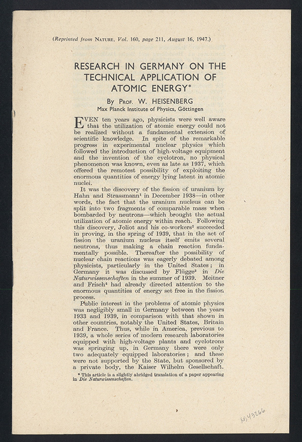 Research in Germany on the technical application of atomic energy. Offprint. Werner Heisenberg.