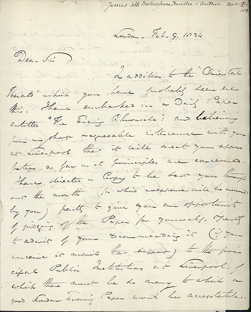 3 autograph letters signed to William Rathbone. James Silk Buckingham.