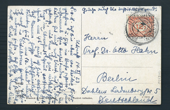 Autograph postcard signed to Otto Hahn. Lise Meitner.
