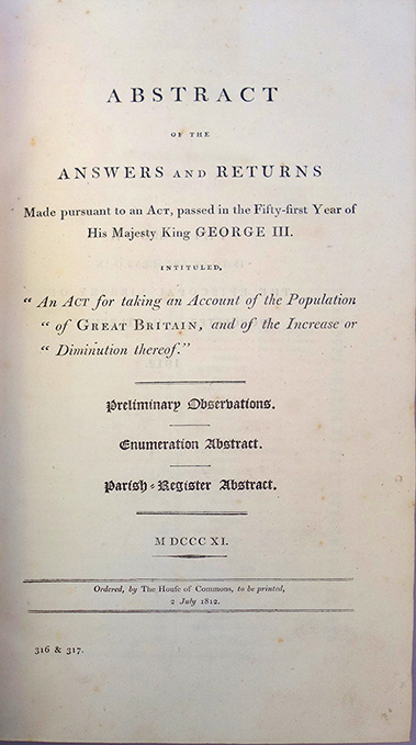 """Abstract of the answers and returns made pursuant to an act . . . intituled, """"An act for taking an account of the population of Great Britain, and of the increase or diminution thereof"""". John Rickman, British Census."""