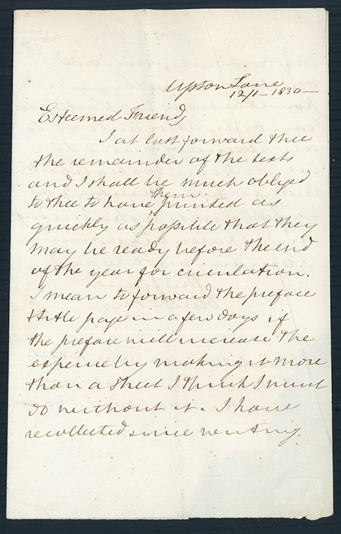 Two autograph letters signed to Richard Taylor. Elizabeth Fry.