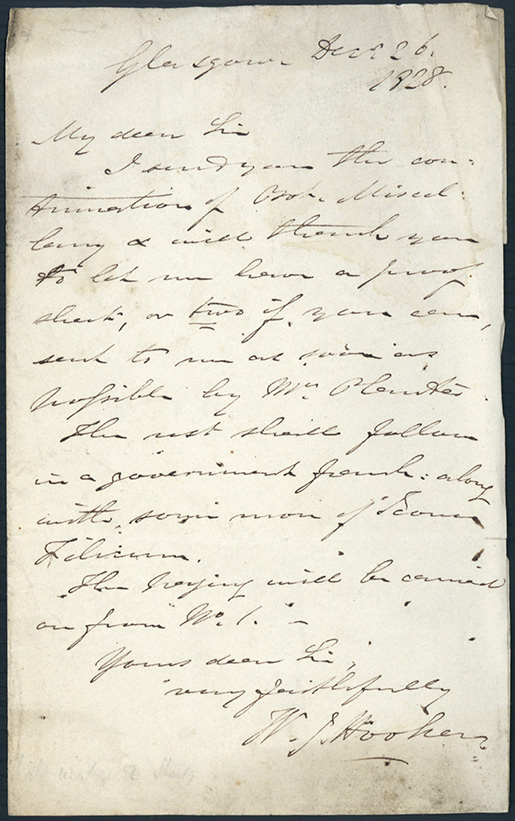 Autograph letter signed to Richard Taylor. William Jackson Hooker.
