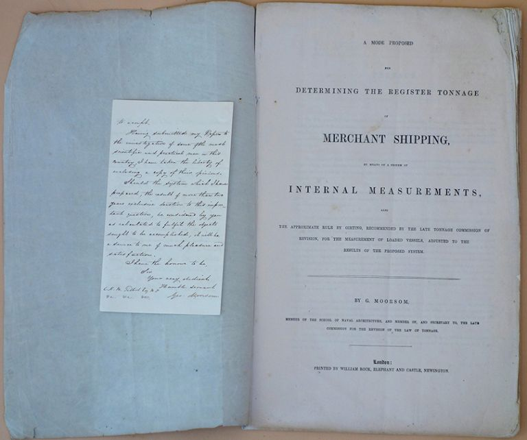 Archive of 38 documents, including letters, manuscript charts, printed documents etc., relating to the Moorsom System of calculating cargo capacity in ships and the British Association for the Advancement of Science's efforts to improve it. Moorsom System.