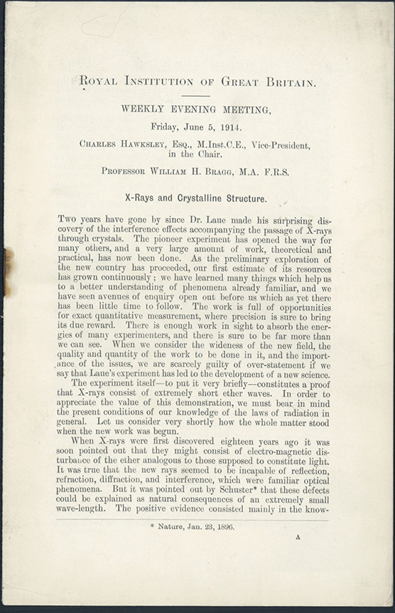 X-rays and crystalline structure. William H. Bragg.