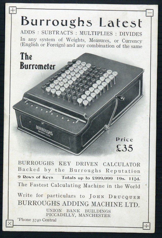 Burroughs latest . . . the Burrometer. Burroughs Adding Machine Ltd.