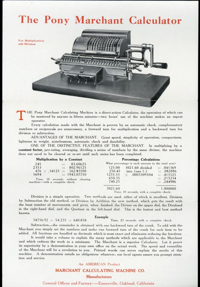 Here is the calculator you have been waiting for. Marchant Calculating Machine Company.