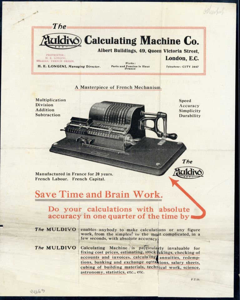 A masterpiece of French mechanism. Muldivo Calculating Machine Company.