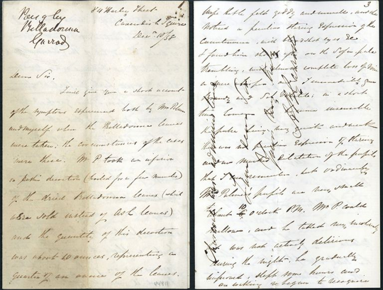 Autograph letter signed to Alfred Swaine Taylor. Alfred Baring Garrod.