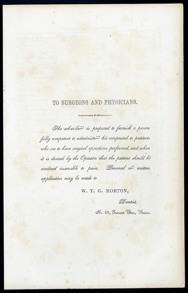 To surgeons and physicians. Broadsheet. W. T. G. Morton.