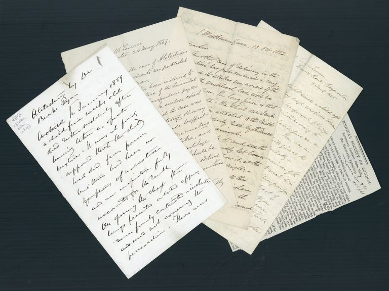 Collection of 3 letters from Burke Ryan, 3pp. Taylor's notes and a cutting from the Lancet. Alfred Swaine Taylor, William Burke Ryan.