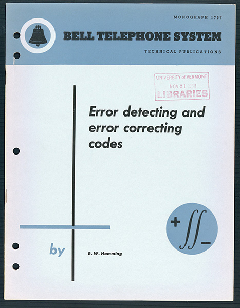 Error detecting and error correcting codes. Offprint. R. W. Hamming.