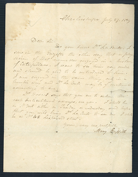 Autograph letter signed to Dr. John Francis. Mary Griffith.