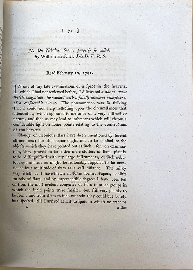 Observations on certain horny excrescences of the human body / On nebulous stars properly so called. In Philosophical Transactions 81 (1791). Everard Home, William Herschel.